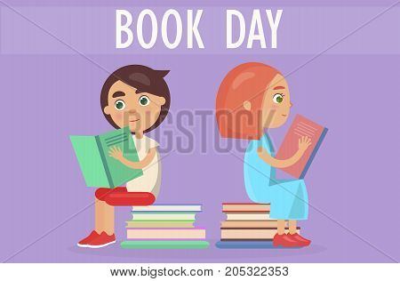 Two kids sitting on pile of literature and holding color textbooks isolated on purple. Book day card vector illustration.
