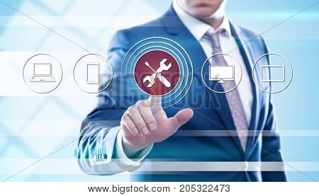 businessman pressing button on virtual screens. Business technooogy internet concept