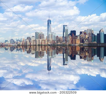 New York city Lower Manhattan skyline with reflection