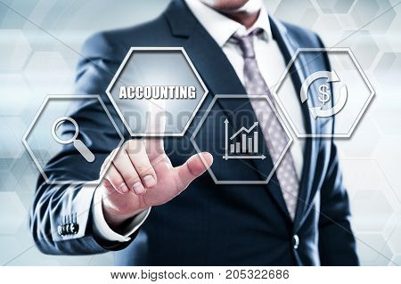 Business, technology, internet concept on hexagons and transparent honeycomb background. Businessman pressing button on touch screen interface and select accounting