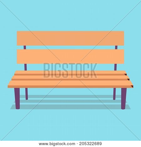 Wooden brown bench with purple legs and shadowy silhouette closeup on blue background vector illustration in cartoon style.