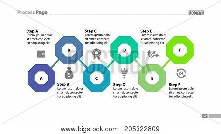 Six steps flowchart design. Element of chart, diagram, presentation. Concept for annual report, infographic, web design. Can be used for topics like business, strategy, planning