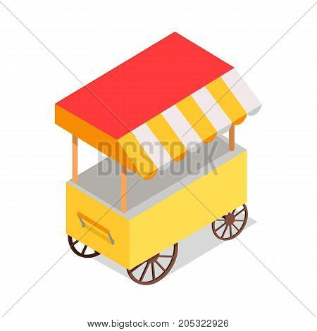 Bright yellow street food trolley with tent isolated on white background. Fast way to have snack right on street. Streetfood trolley with icecream, cotton candies, sandwiches or hamburgers