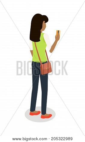 Woman with credit card standing backwards isometric projection icon. Female character in casual clothing make purchases vector illustration isolated on white background. Customer buying goods in store