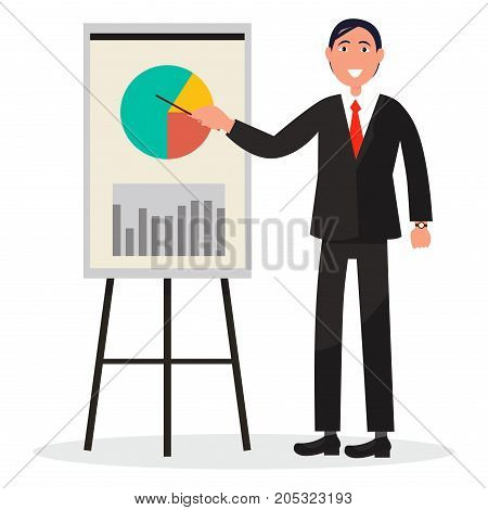 Smiling man in black suit and red necktie shows at colored diagram and chart on poster, vector illustration isolated on white.