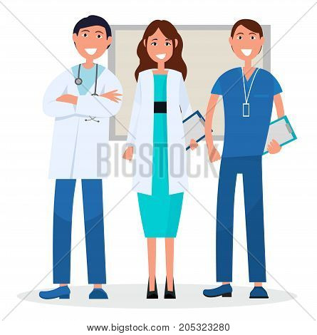 Medical advisers isolated on white. Vector illustration of men with stethophonendoscope on neck and name badge, woman holding blue tablet.