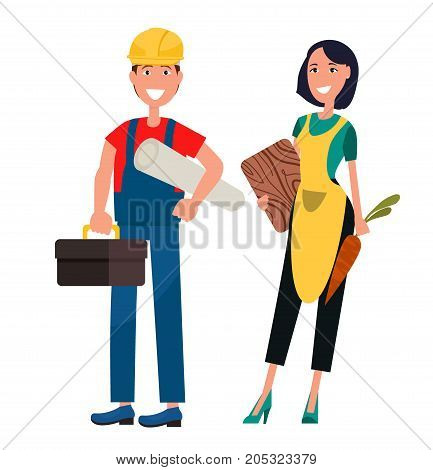 Smiling housewife and constructor. Woman in apron holds carrot and cutting board. Builder with roll of paper and tool box nearby vector