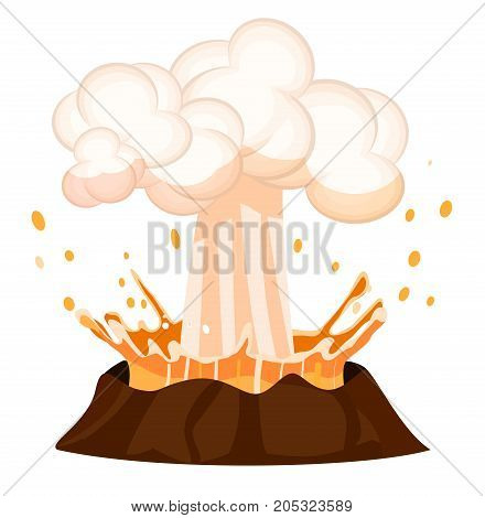 Erupting liquid drains splashing out burning volcano on white background. Strong flow of effluent red-hot lava, white clouds over top of brown stone. Vector illustration of geological making.