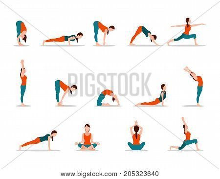 Young girl practicing yoga, set of different poses on white background. Meditation, stretching and relaxation in women positions vector illustration.