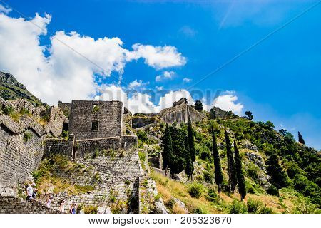 The ancient wall of a fortress in Katar, Montenegro