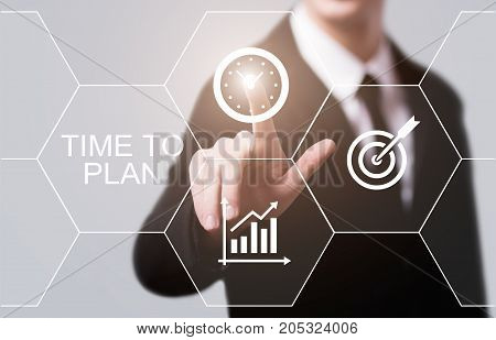 Time To Plan Strategy Success Project Goal Business Technology Internet Concept.