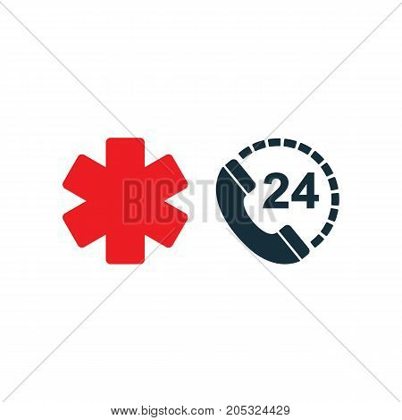 Medical Emergency Phone All Day Nonstop Icon On White