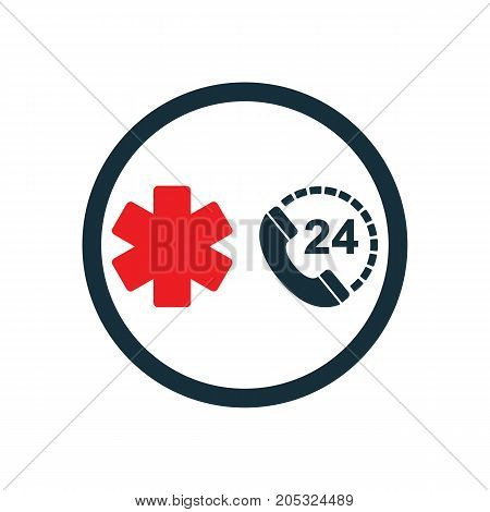 Life Star Medical Emergency Phone All Day Nonstop Icon  On White