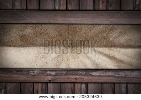 Brown Leather Texture On Wooden Background .