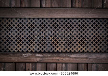 Red Steel Material Cover With Rust On Wooden Background