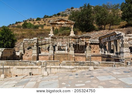 Fountain of Trajan, Nymphaeum Traiani, in Ephesus ancient city, Selcuk, Turkey.