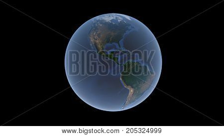 North America and South America surrounded by a blue ocean on the Earth ball an isolated globe 3D rendering