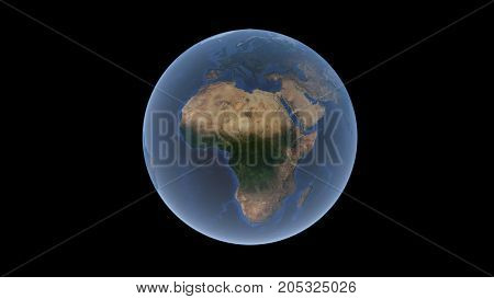 Africa on the Earth ball isolated globe 3d rendering