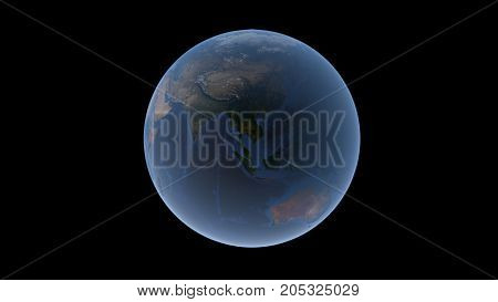 Southeast Asia Oceania and Australia on the Earth ball isolated globe 3D rendering