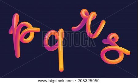 3D Gradient Lettering. Font Set With Letter.