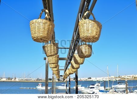 Straw baskets of fishermens for transporting fish from the ocean to the shore