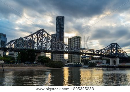 Brisbane, Australia - July 9, 2017: Story Bridge is a cantilever bridge over the Brisbane River that opened in 1940.