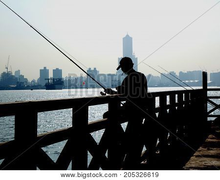 Angler In The Port City Of Kaohsiung