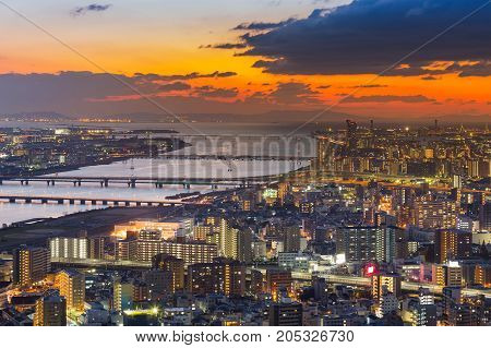 Sunset skyline over Umeda city central business downtown aerial view cityscape background Japan