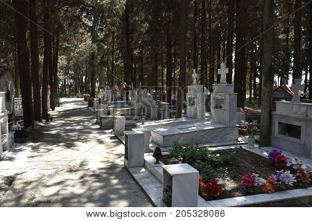 Typical graveyard from a small village in the North of Greece.