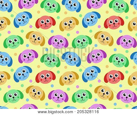 Cute puppy seamless pattern. Dog repetitive texture. Children endless background. Vector illustration