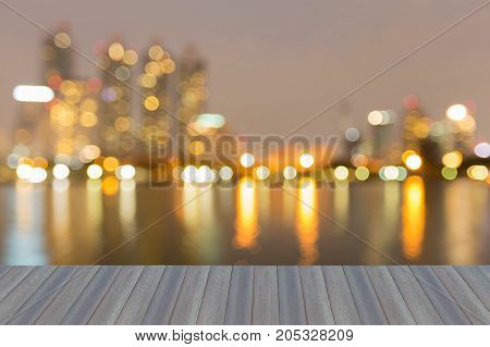 Opening wooden floor Blurred bokeh light office building abstract background
