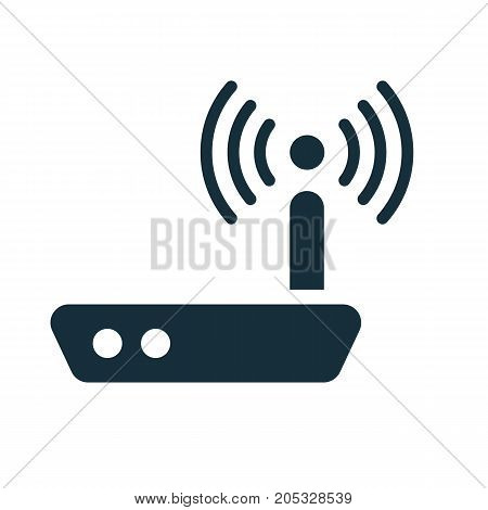 Wi-fi Router With Antenna Icon On White Background