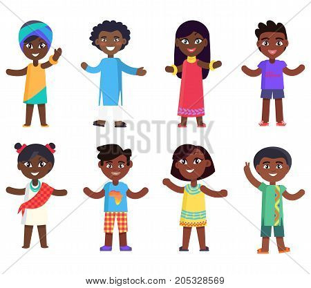 African children boys and girls isolated vector illustrations set on white background. Afro-american kids in national cloth celebrate day of child