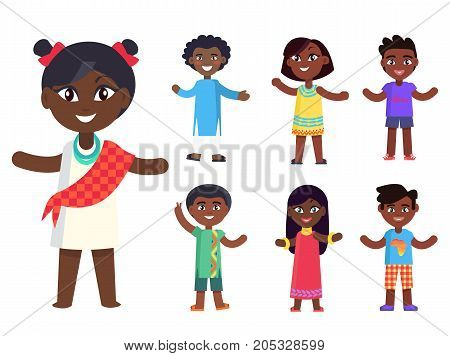 Cartoon afro-american girl in national cloth and her friends isolated vector illustrations set. Pretty kids with black skin celebrate day of child