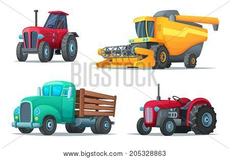 Set of agricultural transport. Farm equipment, tractors, truck and harvester. Industrial vehicles. Cartoon design vector illustration of rural machinery
