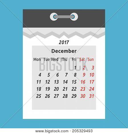 Tear-off Calendar, December 2017