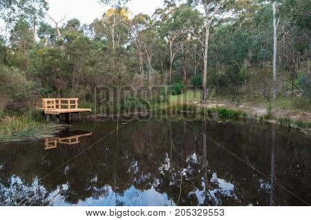 Millers Pond at Currawong Bush Park in the outer Melbourne suburb of East Doncaster in Australia.