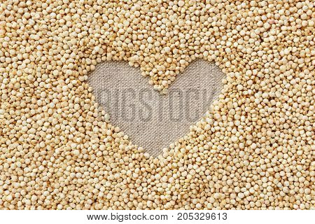 Quinoa seed closeup with heart shape background