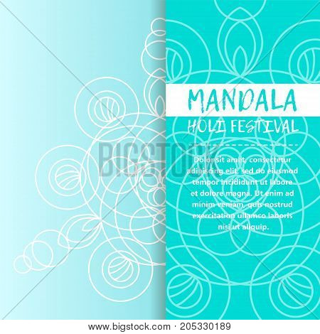 Vector mandala Holi. Happy Holi festival greeting card design with Mandala. Oriental pattern vector illustration. Islam Arabic Indian turkish