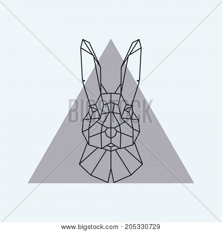 Geometric head of a hare. Vector illustration.