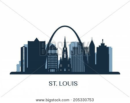 St. Louis skyline monochrome silhouette. Vector illustration.