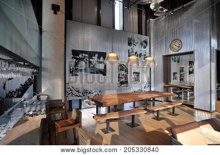 the interior industrial loft style bar decoration