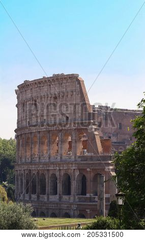 The Colosseum is an oval amphitheatre in the centre of the city of Rome, Italy. Built of concrete and sand, it is the largest amphitheatre ever built.