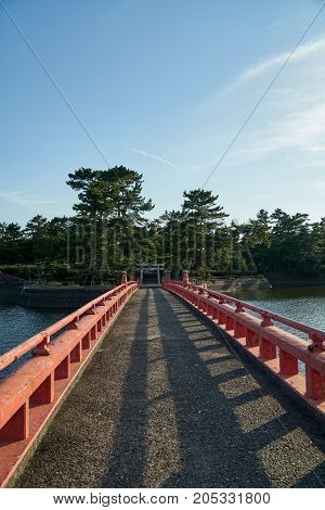 A bridge connect to the Tokiwa Shrine in Tokiwa Park Ube City.