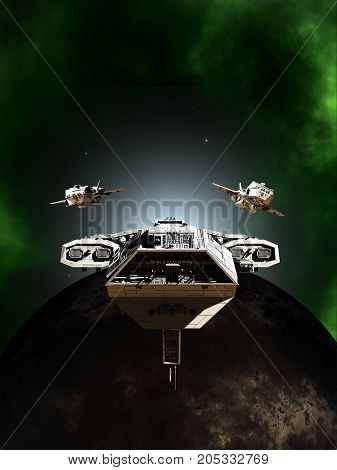 Science fiction illustration of a deep space battle fleet of three spaceships in formation passing a dark planet through a green nebula, digital illustration (3d rendering)