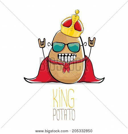 vector funny cartoon cool cute brown smiling king potato with gold crown and red mantle or cape isolated on white background. vegetable funky character