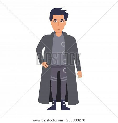 Goth. Vector. Cartoon. Isolated art on white background Flat
