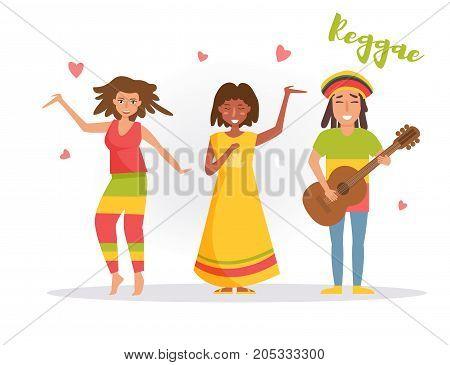 Music band reggae. Vector. Cartoon. Isolated art on white background. Flat