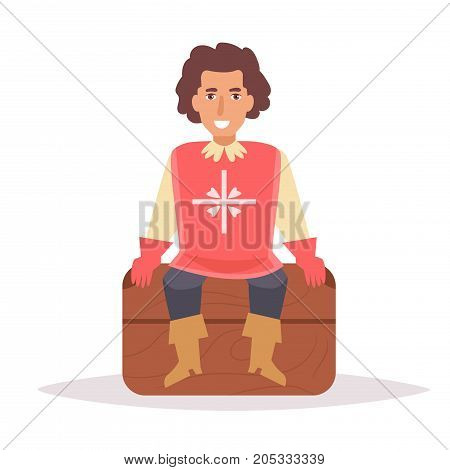 Musketeer sitting on the chest. Vector. Cartoon. Isolated art on white background. Flat
