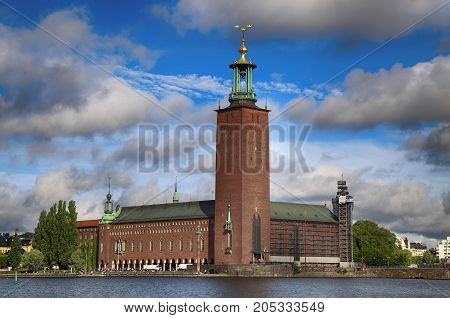 Scenic view of the City Hall from Riddarholmskyrkan Stockholm Sweden